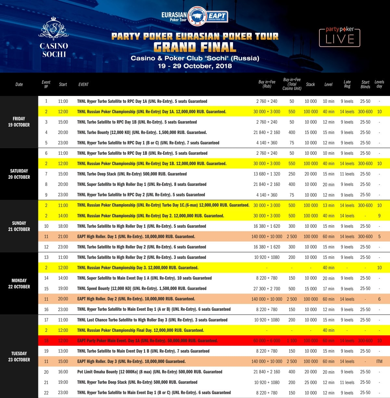 Расписание EAPT Grand Final 2018 - 1